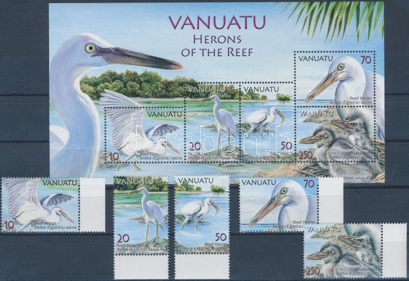 Zátonykócsag ívszéli sor  + blokk, Pacific reef heron margin set + block