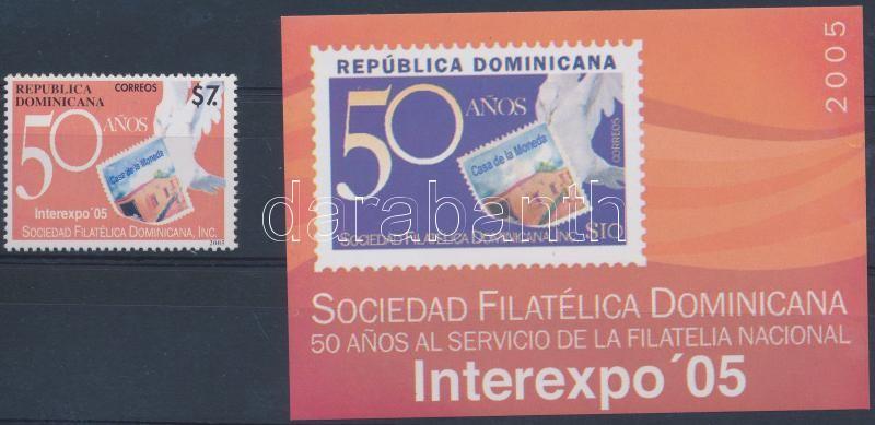 Stamp Exhibition stamp + block, Bélyegkiállítás bélyeg + blokk