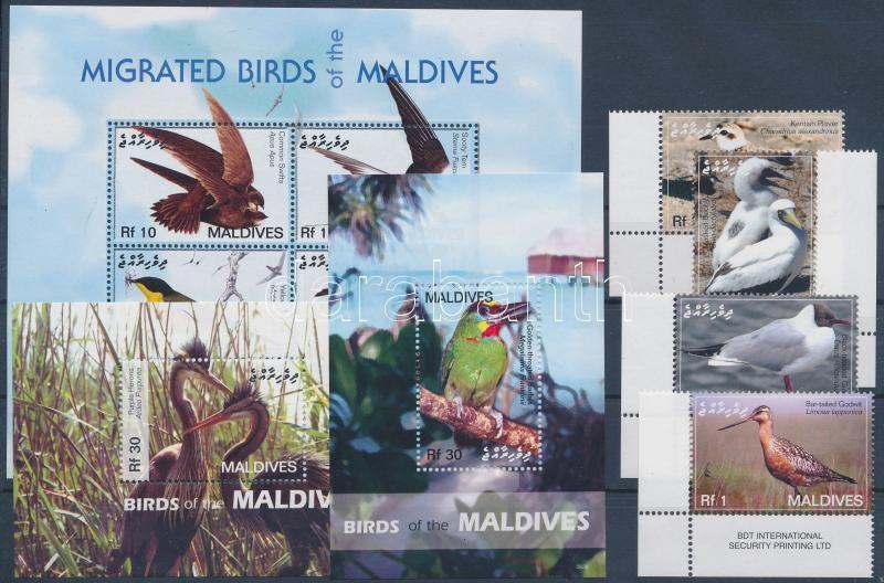 Birds corner set + minisheet + 2 block, Madarak ívsarki sor + kisív + 2 db blokk