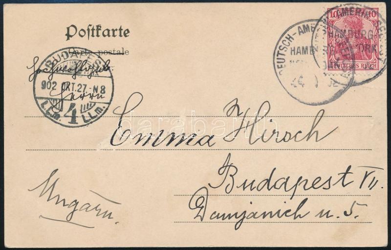 Hamburg - New York sea mail postcard, Hamburg - New York hajóposta képeslap