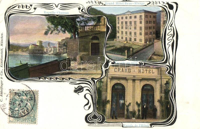 Rapallo, Chateau, Grand Hotel Beau-Rivage, entrée / castle, hotel with the entry doors. Art Nouveau, TCV card