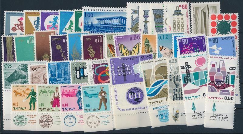 1965-1966 40 stamps with tab, almost 2 complete years, 1965-1966  40 klf tabos bélyeg, csaknem a két évfolyam kiadásai