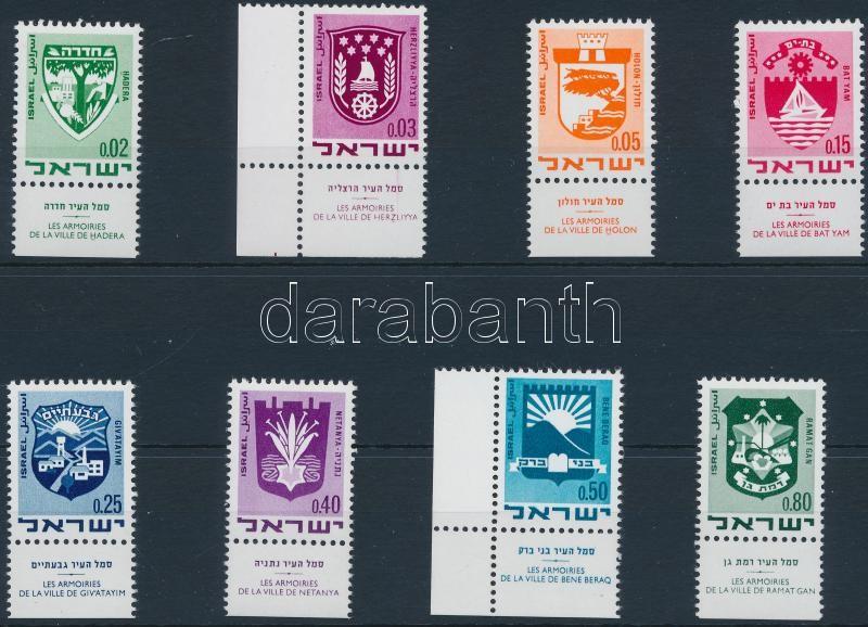 City coats of arms set with tab, Forgalmi: városcímerek tabos sor