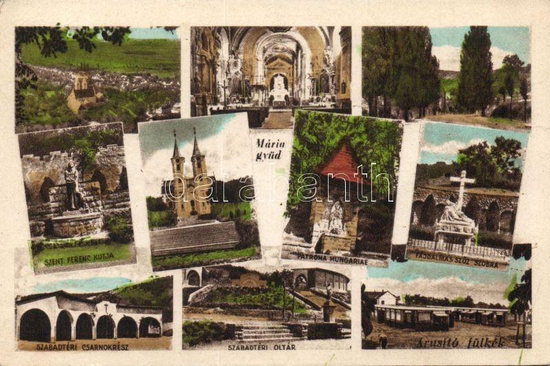 Máriagyűd, templom, szobor, csarnok, árusító fülkék, oltár
