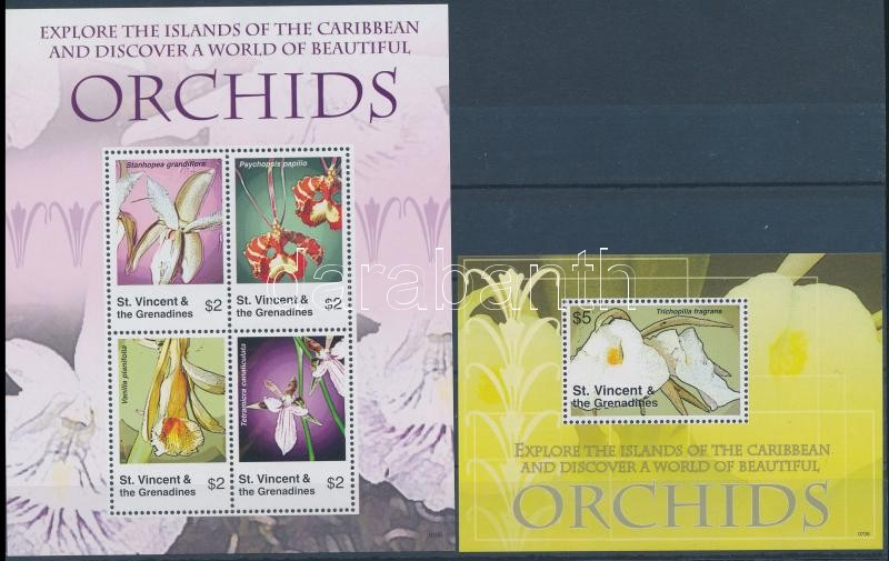 Orchids mini sheet + block, Orchideák kisív + blokk
