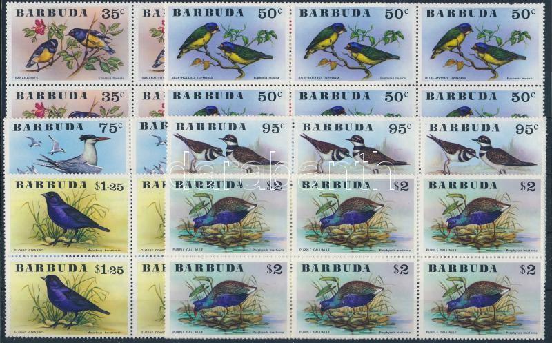 Birds set in blocks of 6, Madarak sor hatostömbökben