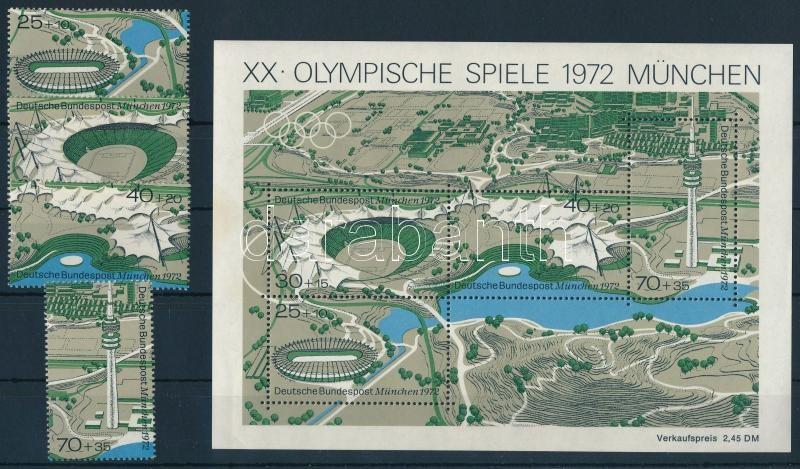 Olympic games stamps from a block + block, Nyári olimpia, München blokkból kitépett bélyegek  + blokk