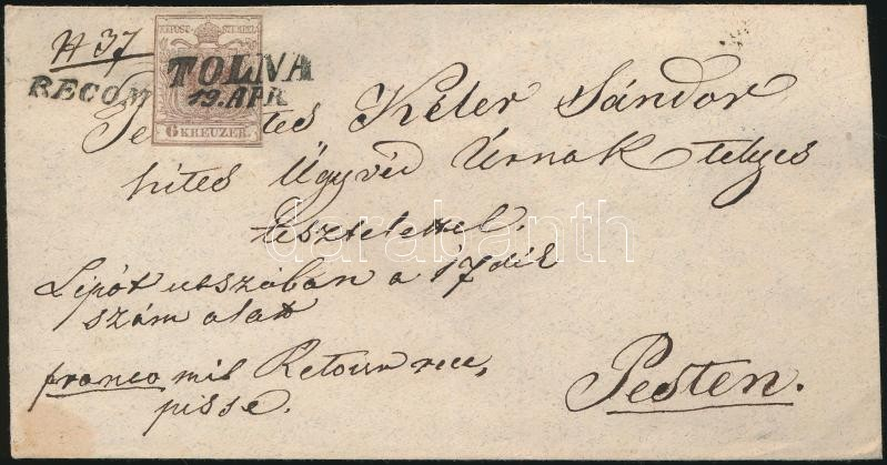 ~1853 6kr + 6kr HP I. on registered cover