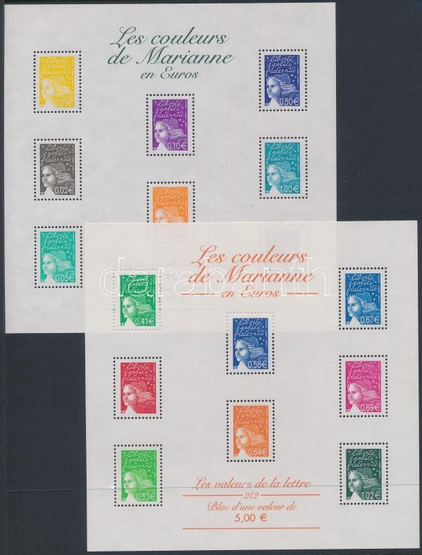 Definitive stamps in Euros 2 minisheets, Eurós forgalmi bélyegek 2 kisív