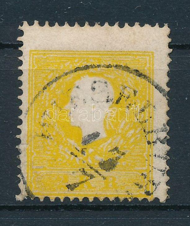 2kr II sulfur yellow, shifted perf. upper margin ,,WIESELBUR(G)