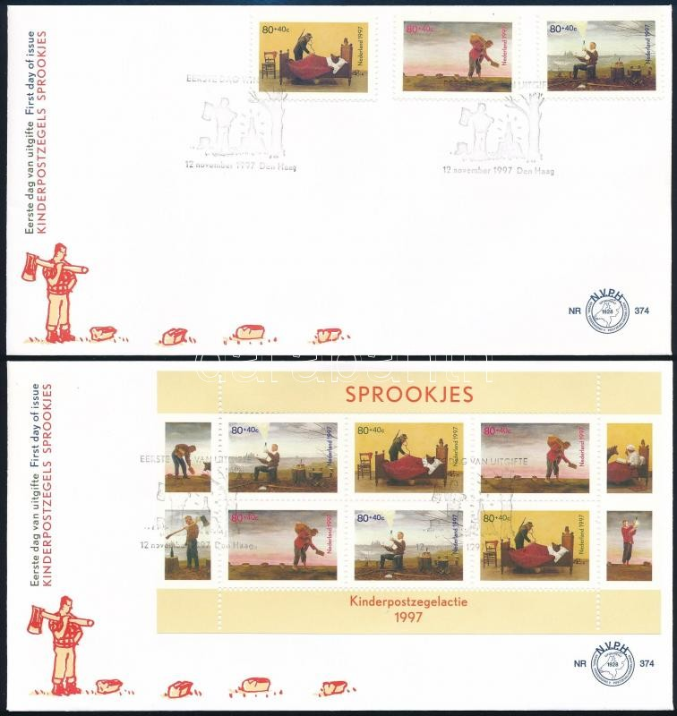 Fairytales set + block on 2 FDCs, Mesék sor + blokk 2 FDC-n
