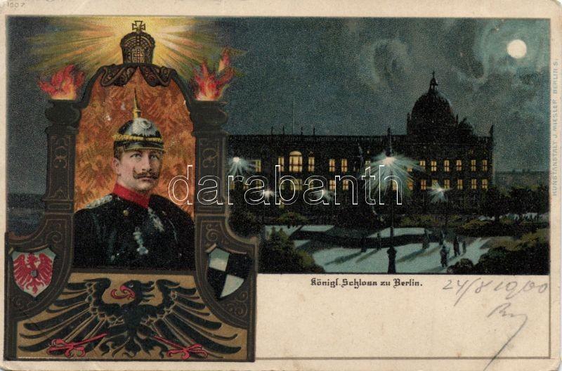 Berlin, Schloss / castle, Wilhelm II, litho