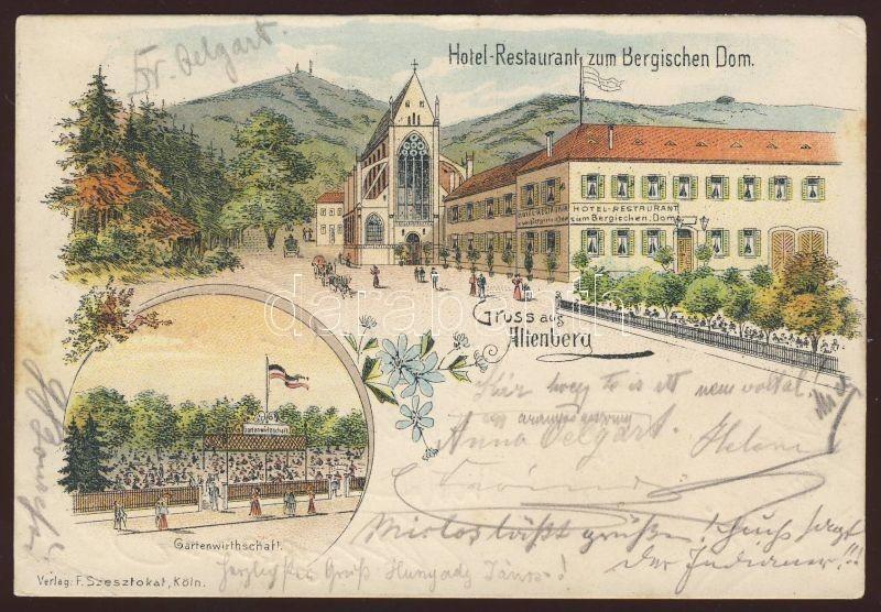 1897 Altenberg, Hotel Restaurant zum Bergischen Dom, Gartenwirthschaft, floral, litho