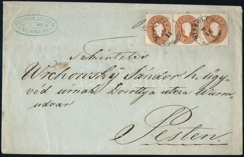 ~1861 10kr stripe of 3 on a cover 2nd weight class, 3rd zone