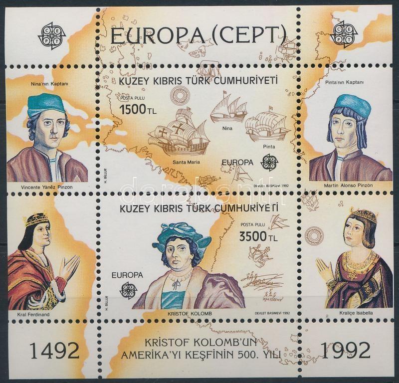 Europa CEPT 500th anniversary of America's discovery, Europa CEPT, Amerika felfedezésének 500. évfordulója blokk