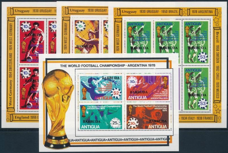 Football World Cup mini sheet set + block, Labdarúgó világbajnokság kisív sor + blokk