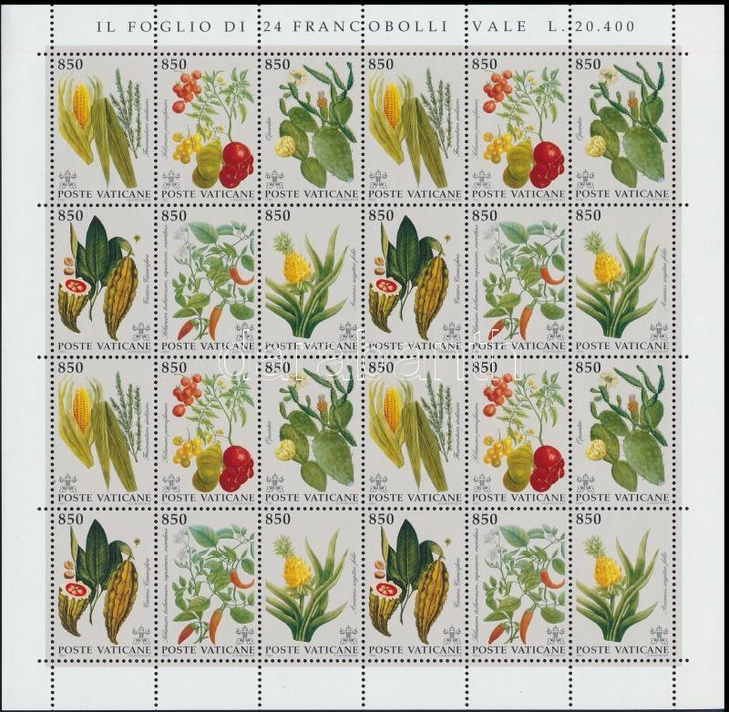 American plants 4 sets in minisheet, Amerikai növények 4 sort tartalmazó kisív