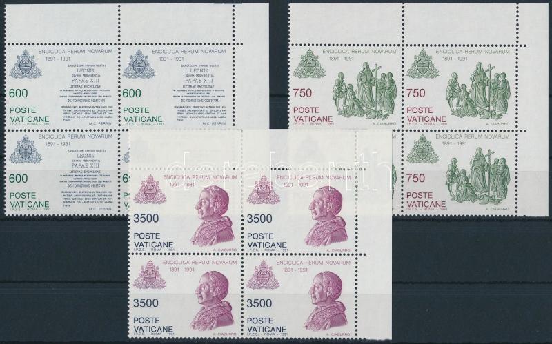 """Centenary of """"Rerum Novarum"""" encyclic set corner blocks of 4, 100 éves a """"Rerum Novarum"""" enciklika sor ívsarki négyestömbökben"""