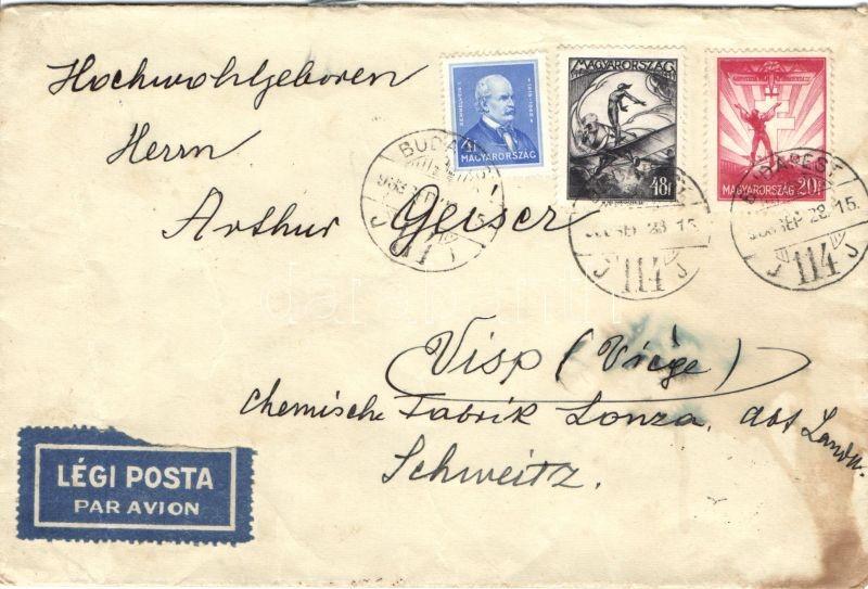 Airmail cover to Switzerland, Légi levél Svájcba Arcképek 4f+ Repülő 20f és 48f bérmentesítéssel (foltos)