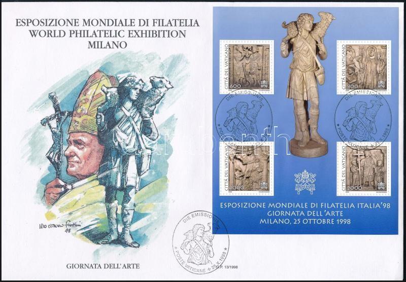 Nemzetközi bélyegkiállítás ITALIA´98 (II.) blokk FDC-n, International stamp exhibition ITALIA´98 (II.) block FDC