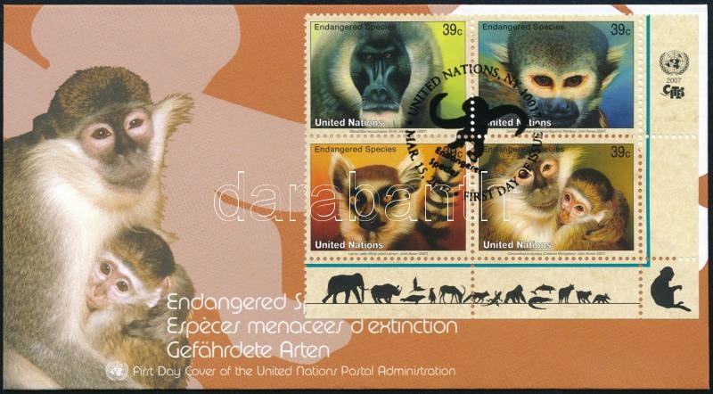 Endangered Primates set corner blocks of 4, Veszélyeztetett főemlősök sor ívsarki négyestömbben