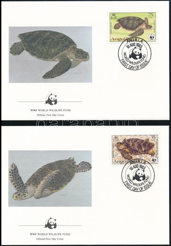 WWF Turtles set 4 FDC, WWF: Teknős sor 4 db FDC-n