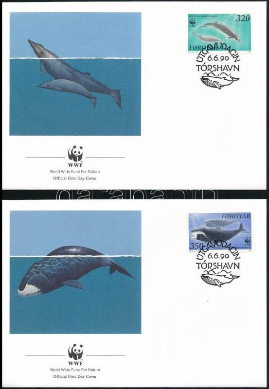 WWF North Atlantic Whales set FDC, WWF: Észak-Atlanti bálnák sor  FDC-n