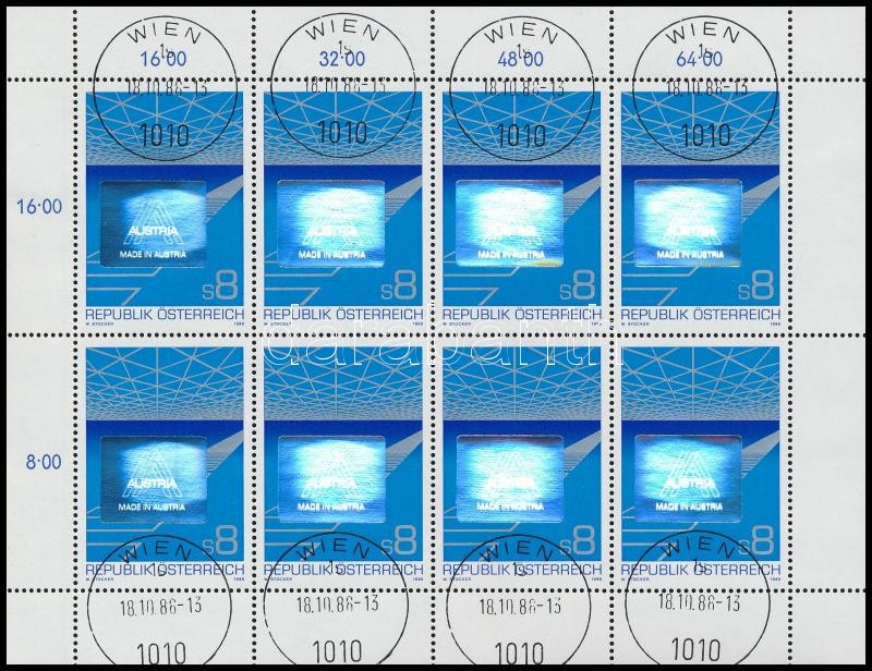 Austrian export hologramic mini sheet, Osztrák export hologramos kisív