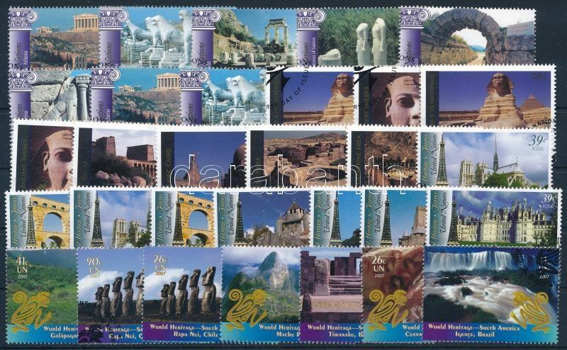 UNESCO World Heritage 2003-2007 4 sets, UNESCO Világörökség motívum 2003-2007 4 klf sor