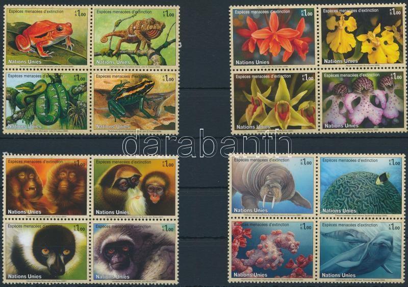 Endangered species 2006-2008 4 blocks of 4, Veszélyeztetett fajok 2006-2008 4 klf négyestömb