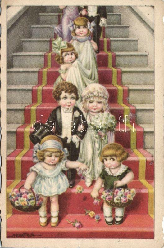 Italian art postcard, children, wedding s: Bertiglia, Olasz művészlap, gyerekek, esküvő s: Bertiglia
