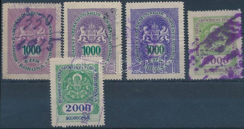 Budapest Székesfőváros 1925 5 klf okirati illetékbélyeg (7.500)