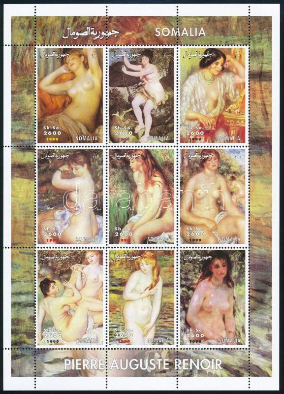 Somalia Renoir paintings mini sheet with 9 values, Szomália Renoir festmények 9 értékes kisív
