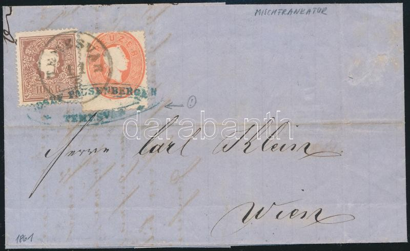 Mixed franking on cover, the 1861 5kr with strongly shifted perforation and paint spot