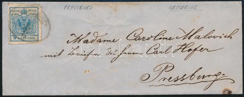ca. 1850 9kr (!) MP III. Local cover overfranked with 7kr, very interesting piece!