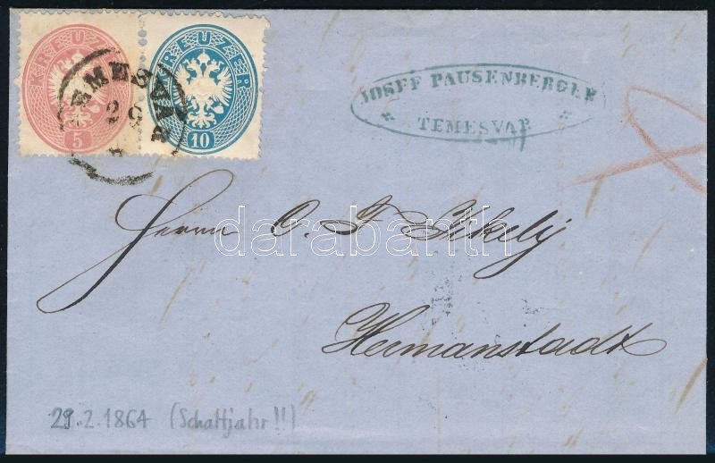 1864.02.29. 5kr + 10kr lon cover with full content, posted in leap year