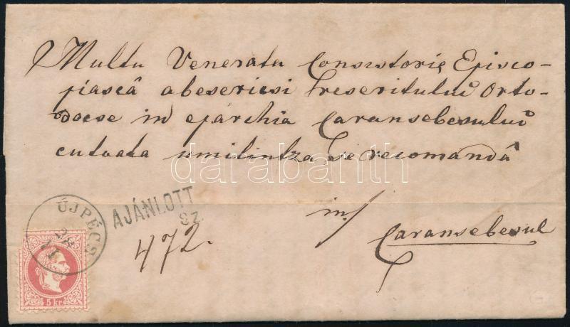 ~1870 5kr on registered cover, ripped 10kr on the backside