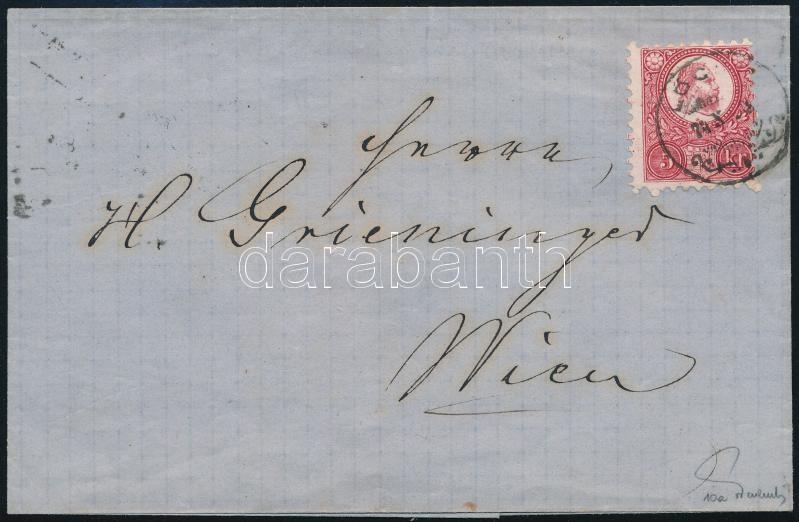 5kr with rare postmark on cover. Signed: Ferchenbauer, 5kr levélen, őskerék típusú