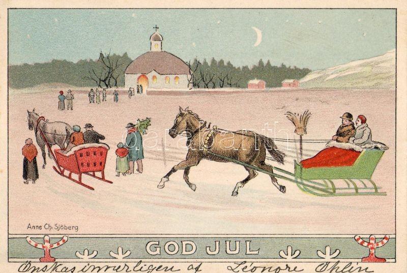 God Jul / Christmas, horse sled s: Anne Ch. Sjöberg, Karácsony, ló szán s: Anne Ch. Sjöberg