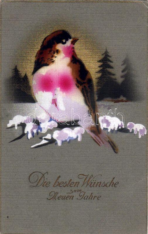 New Year, bird, silk card, Újév, madár, textil lap