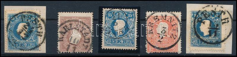 5 pcs type I stamps, 5 db I típus bélyeg