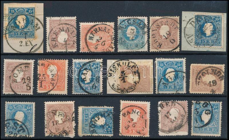 18 stamps with nice cancellations, 18 db bélyeg szép/olvasható bélyegzésekkel