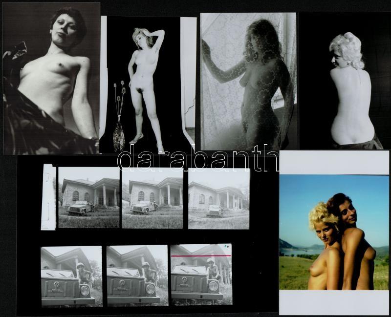cca 1983 Bombázók, szolidan erotikus felvételek, 5 db vintage negatív, + 12 db vintage fotó és/vagy mai nagyítás, a negatívok és a papírképek között nincs összefüggés, 6x4,5 cm és 25x18 cm között