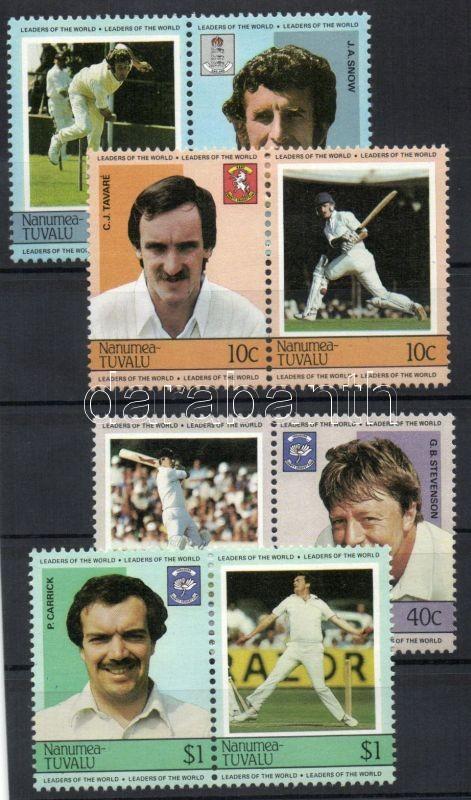 Cricket players 4 pairs (set), Krikett játékosok 4 pár (sor), Kricketspieler 4 Paare (Satz)