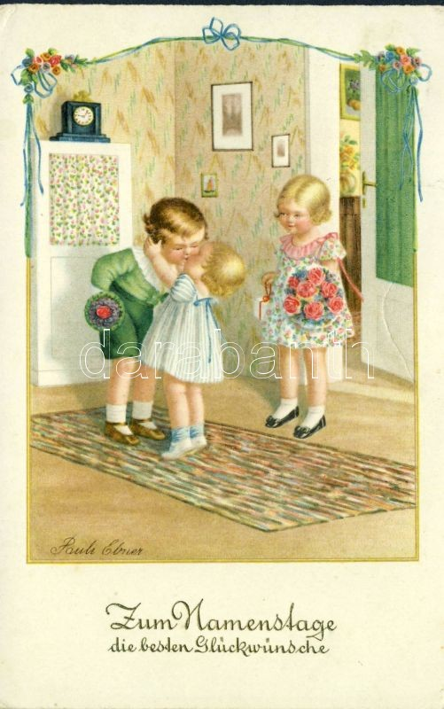 Name day, children, kiss s: Pauli Ebner, Névnap, gyerekek, csók s: Pauli Ebner
