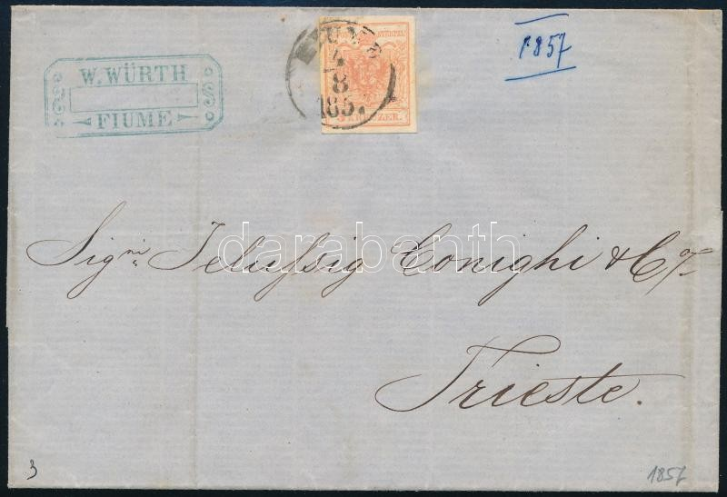 3kr MP III plate flaw, on cover ,,FIUME 1857