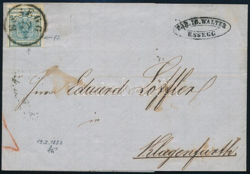 9kr HP III lemezhibás bélyeg levélen ,,ESSEGG