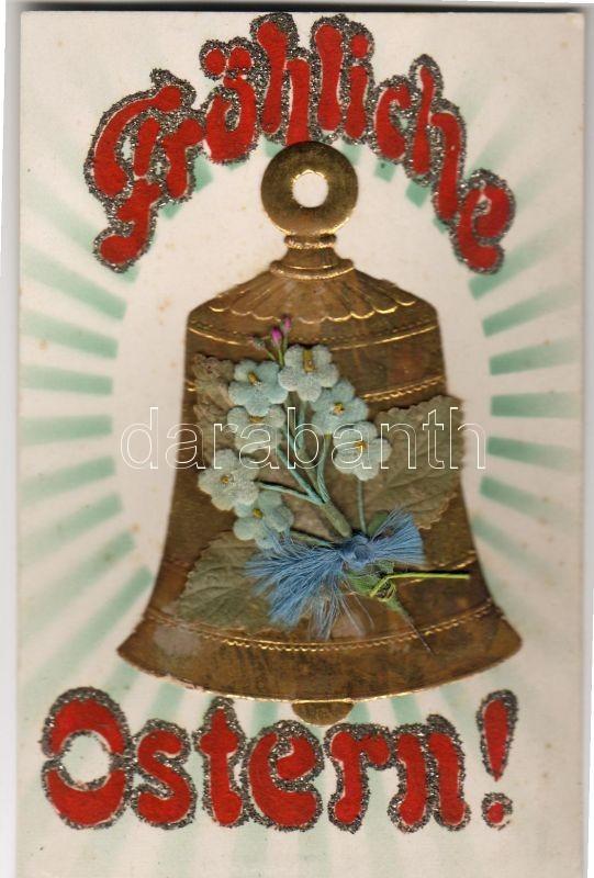Easter, textile card, Húsvét, textil képeslap