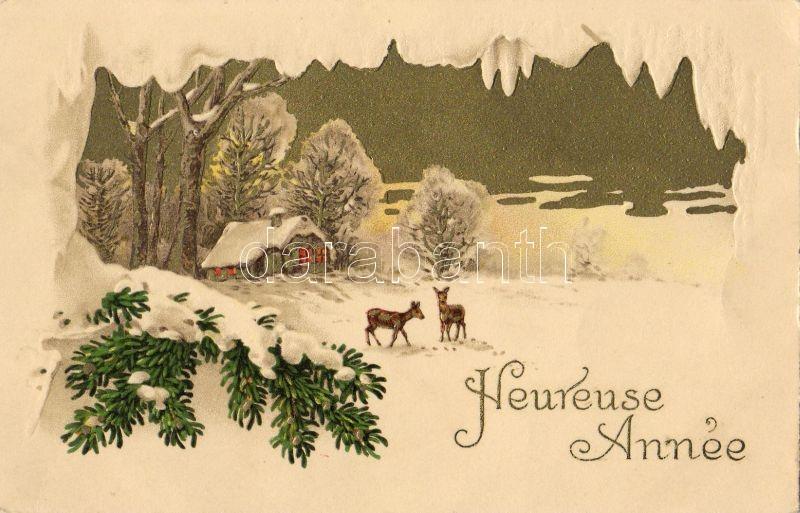 New Year, deers, Újév, őzek