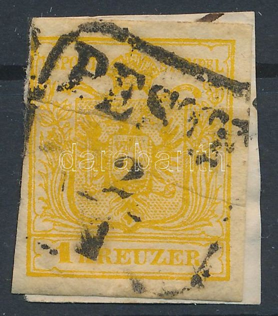1kr HP III. cadmium yellow, paper crease ,PESTH